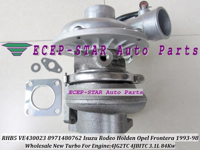 Livraison gratuite RHF5 VI95 8971480762 Turbo pour ISUZU pour Holden Rodeo Trooper pour Opel Frontera 4JB1 4JB1TC 2.8L 4JG2TC 4JG2T 3.1L