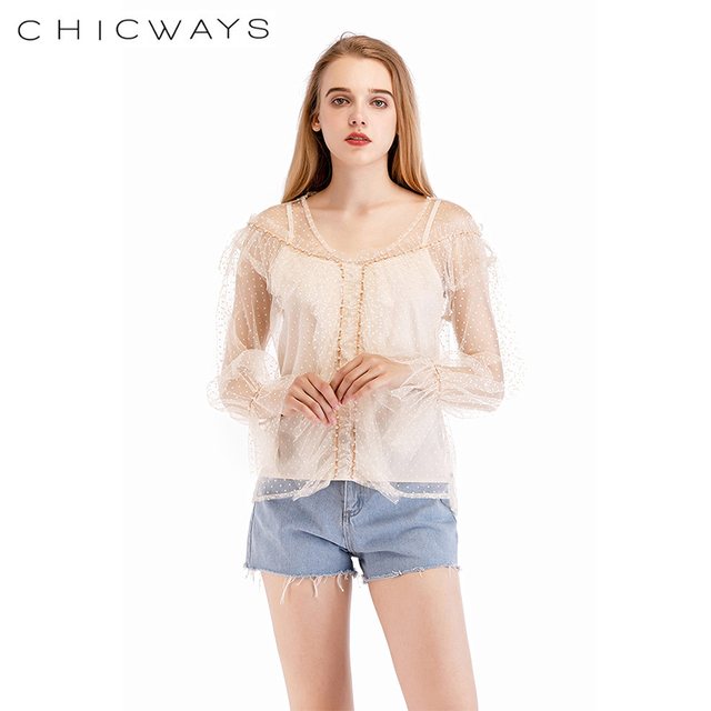 609b7ed381645 Chicways Ruffled Dotted Mesh Top transparent Sexy Women Long Sleeve Mesh  Blouse pearl chain Tops Turtleneck club female blouse