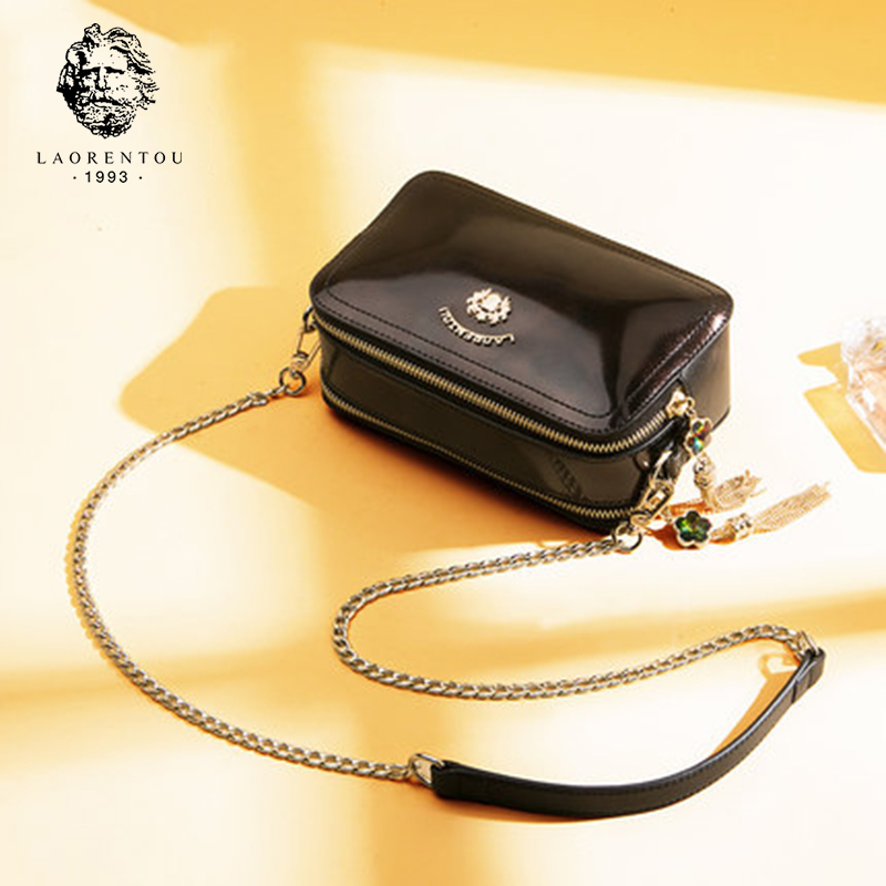 Laorentou Brand Women Shoulder Bag Leather Crossbody Bags for Female Retro Chain Flap Clutch Bag Valentine's Day gift
