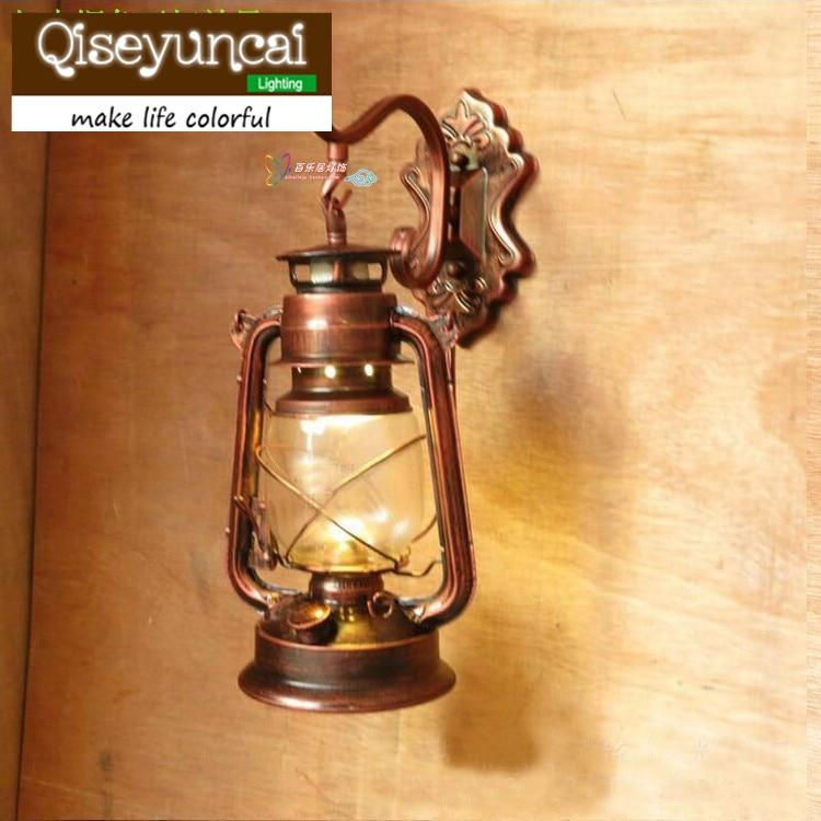Black Copper Bronze Vintage Lantern Wall Lamp Personalized Kerosene Lamp Fashion Iron Wall Lights