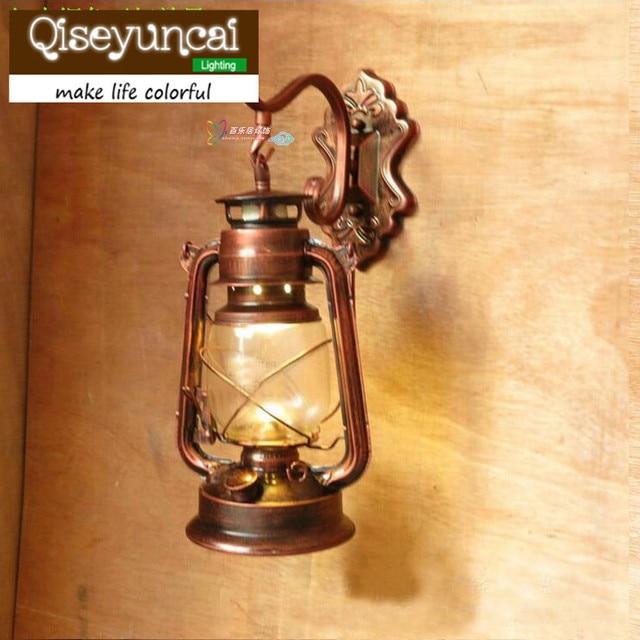 Black Copper Bronze Vintage Lantern Wall Lamp Personalized Kerosene Fashion Iron Lights
