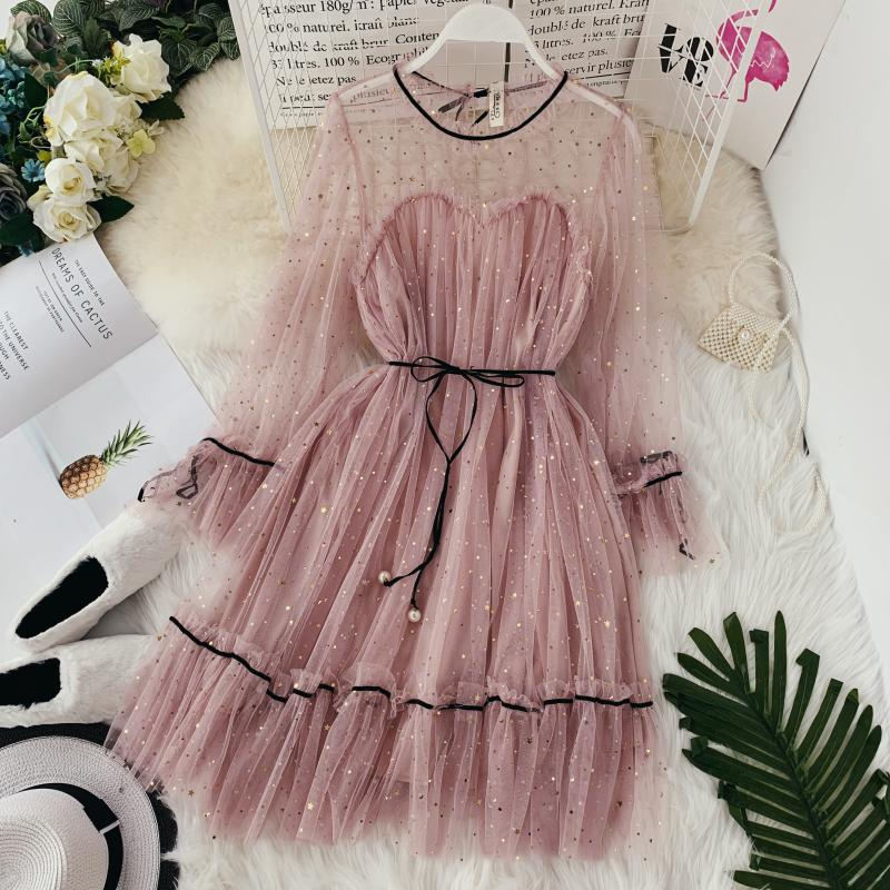 HISUMA spring autumn new women Star sequins gauze flare sleeve lace-up Princess dress female elegant o-neck mesh puff dresses 22