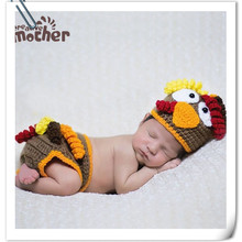 e9cc3f666ca Baby Knitted Chicken Hat Baby Photo Props Crochet Baby Costumes Hat Pants  Set Newborn Photography Props