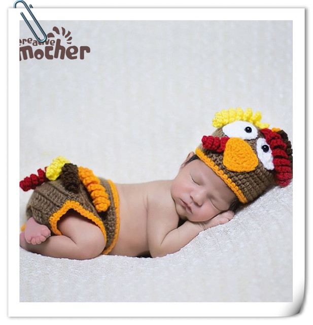 69cf756b4af Baby Knitted Chicken Hat Baby Photo Props Crochet Baby Costumes Hat Pants  Set Newborn Photography Props Accessories Fotografia