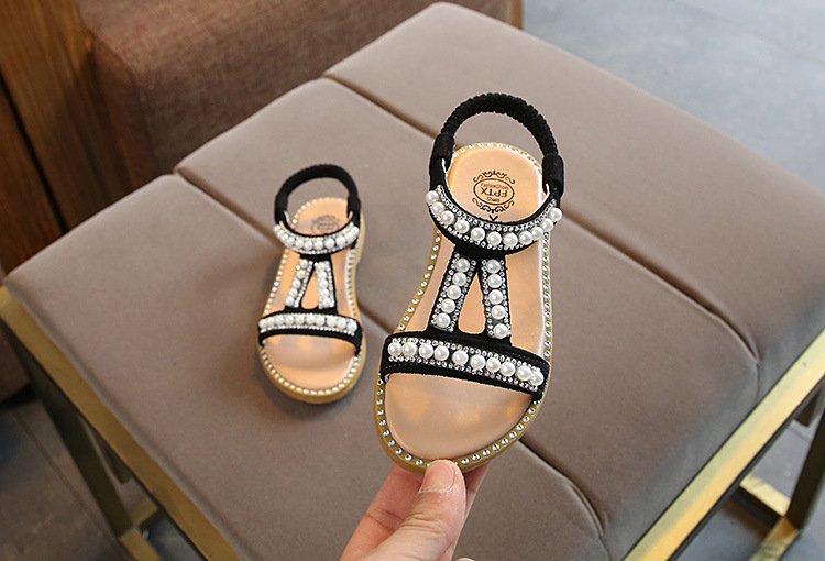HTB1CVajX2Bj uVjSZFpq6A0SXXay - Summer Baby Girls Sandals Toddler Infant Kids Slip On Pearl Crystal Single Princess Roman Shoes For Children Girl