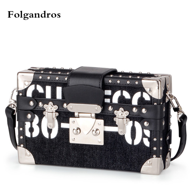 Famous Brand Fashion Metal Rivet Shoulder Crossbody Handbag Box Clutch Super Luxury Designer Messenger Bags for Women Sac A Main vintage handbags clutch retro women messenger bags panelled box bag rivet crossbody shoulder bags small handbag purse sac a main