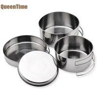 QueenTime Ngoài Trời Cooking Pot Set 4 cái Thực Phẩm Thép Không Gỉ Chủ Đa Chức Năng Đồ Nấu Nướng Dã Ngoại Container Thực Phẩm Dụng Cụ Nhà Bếp