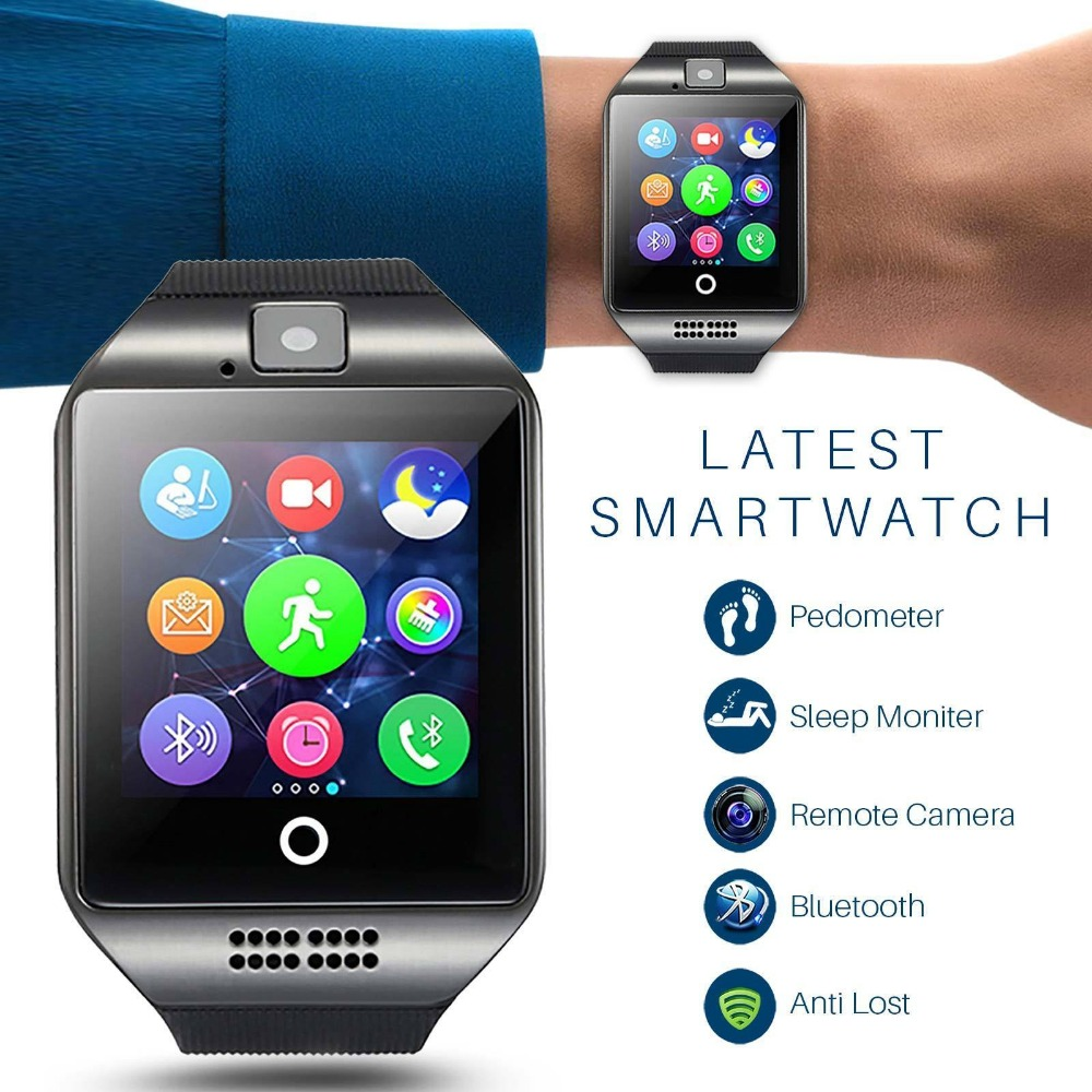 OGEDA Bluetooth music Smart Watch Q20 With Camera Facebook app Twitter Sync  SMS Smartwatch Support SIM TF Card For IOS Android