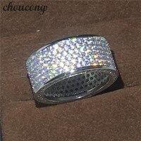 Choucong Victoria Wieck Pełna Cz Pave zestaw 320 sztuk Diamonique Biały złoty wypełniony Zaręczyny Wedding Band Ring set Dla Kobiet mężczyzn prezent