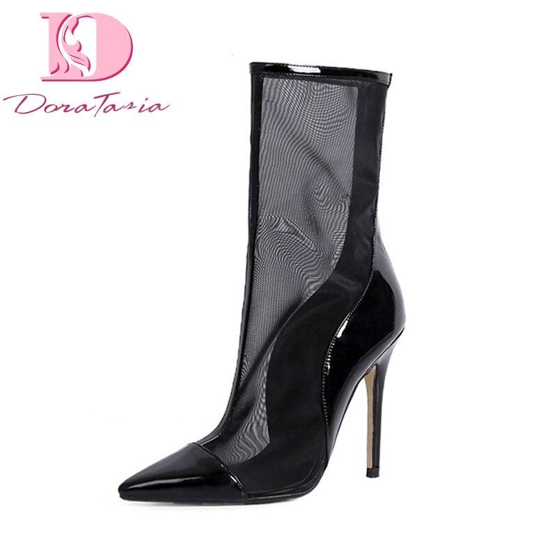 DoraTasia nuevas mujeres zapatos de marca de malla de aire de cuero genuino tacones altos puntiagudos zapatos de cremallera Mujer Casual botas de verano-in Botas a media pierna from zapatos    1