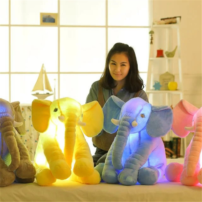 1pc Led Infant Soft Appease be luminous Elephant Playmate Calm Doll Baby Toys Elephant Pillow Plush Toys WJ444 40 60cm appease elephant pillow infant soft stuffed animals elephant plush toys baby sleep toys bed decoration plush toy for kid