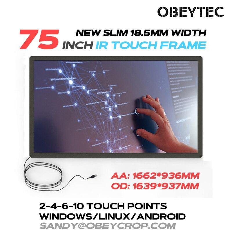 Écran tactile IR Obeytec 75 pouces, 2 points tactiles, haute stabilité et compétitif, Plug and play, cadre en alliage d'aluminium