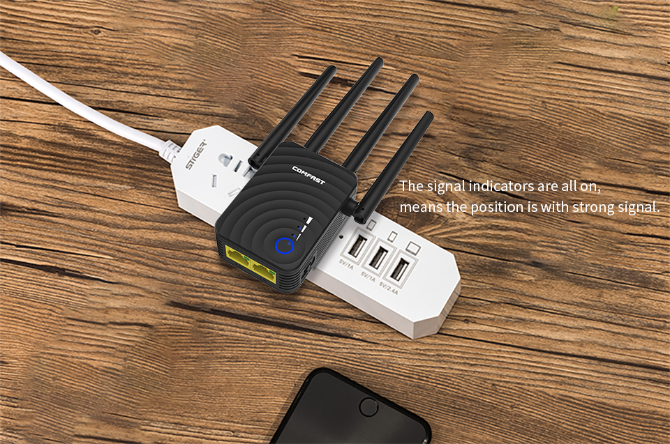 Image 3 - Comfast 1200Mbps Wireless Wifi extender Wifi Repeater/Router Dual Band 2.4&5.8Ghz 4 Wi fi Antenna long Range Signal Amplifier-in Wireless Routers from Computer & Office