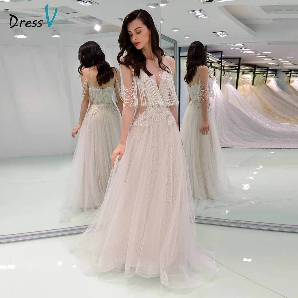 Dressv Elegant Wedding Dress Scoop Neck Appliques Beaded Zipper Up A Line Floor Length Bridal Outdoor&church Wedding Dresses