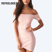 Refeeldeer 2017 Summer Dress Women Short Sleeve Slash Neck Off Shoulder Sexy Pink Dress Summer Sundress