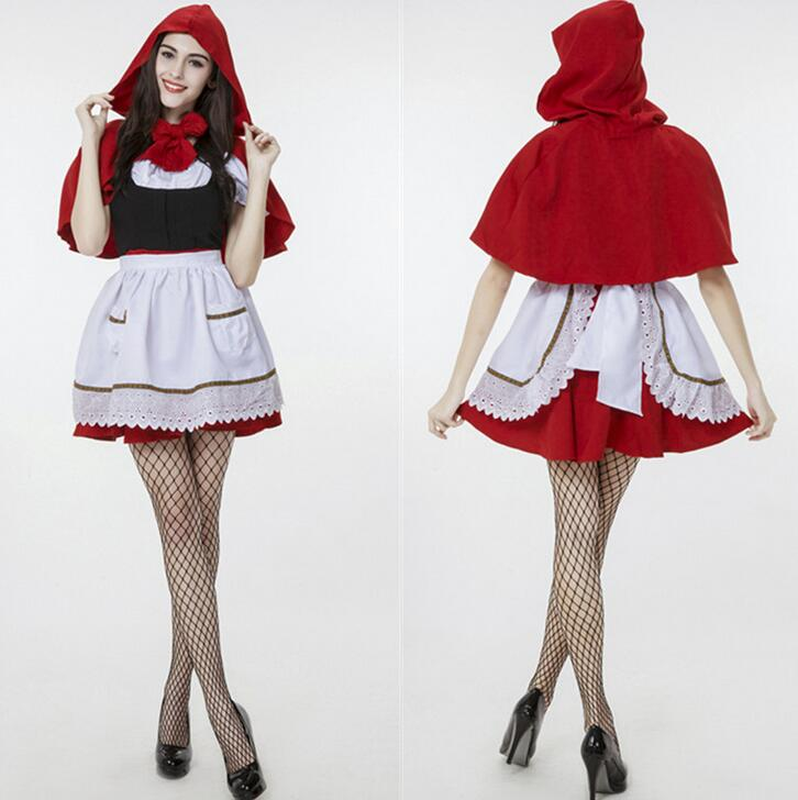 Plus Size Sexy French Maid Costume Deguisement Halloween Cosplay Womens Sexy Costumes Role Play Litter Red Riding Hood CE366
