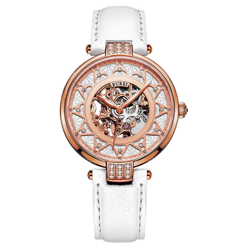 BUREI Designer Gold Watch Hollow Automatic Mechanical Watches Women famous brand Genuine Leather Waterproof Ladies Wrist Watch mance ladies brand designer watches