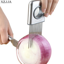 XZJJA Stainless Steel Kitchen Onion Cutter Holder Vegetable Tomato Nicer Dicer Meat Needle Onion Fork Cuisine Outils Gadget цена
