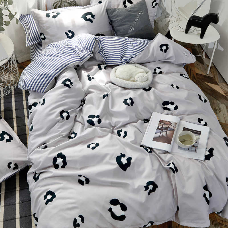 High quality Home textile Gray leopard Heart Twin Full Queen Size King size Soft bedclothes Duvet Cover Set Bed Sheet Pillowcase