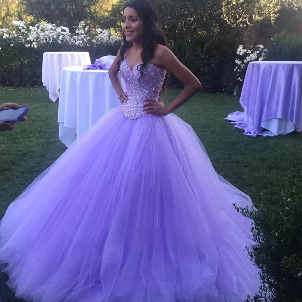 033917b5e3 Detail Feedback Questions about Sparkly Lavender Tulle Ball Gown  Quinceanera Dresses Sweetheart Sequined Party Quinceanera Gowns Fluffy Prom  Dress on ...