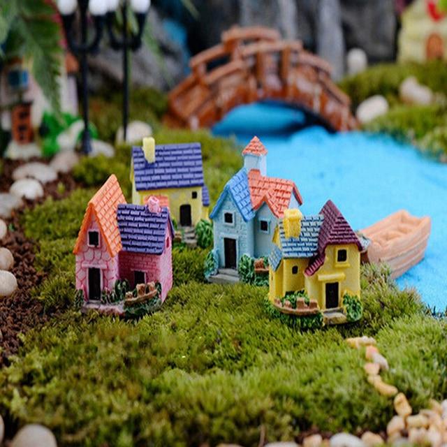 Mini Garden Decoration Miniature House Villa Woodland Fairy Figurines Castle Miniatures Castles Terrarium