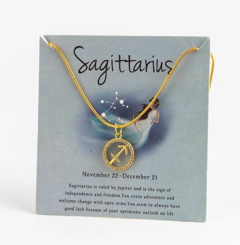 Ожерелье с подвеской в виде животных 12 созвездий для женщин, чокер для пар, массивная цепочка, ожерелье золотого цвета, Знак зодиака с коробкой для карт - Окраска металла: 7