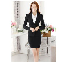 Women Skirt Suits Black Navy Elegant Office Lady Blazer Skirt Suit Formal Women Business Suit Female Workwear Female Office Suit