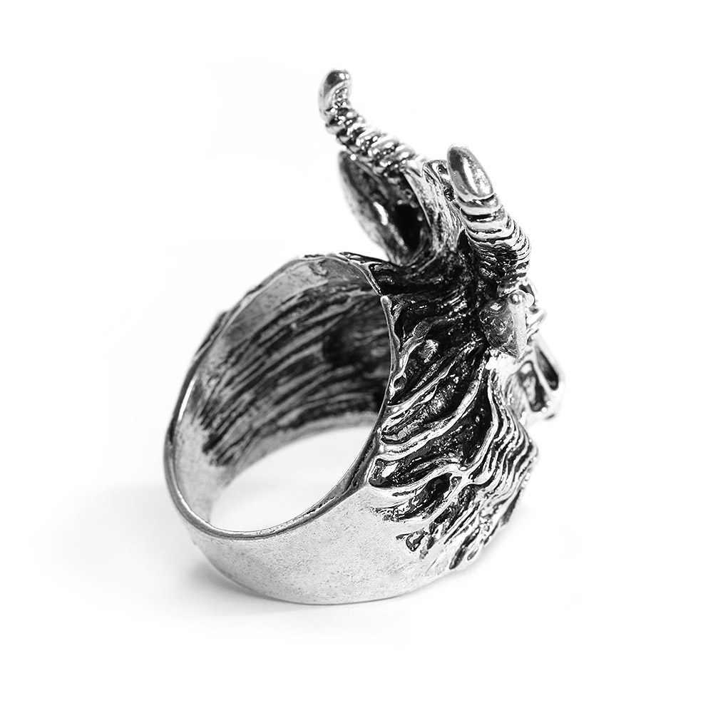 Hot Satanic Mode Grote Schapen Geit Hoorn Hoofd Ring Aanbidding Ram Rock Ring Voor Mannen Unieke Biker Punk Dier Vintage mannen Sieraden