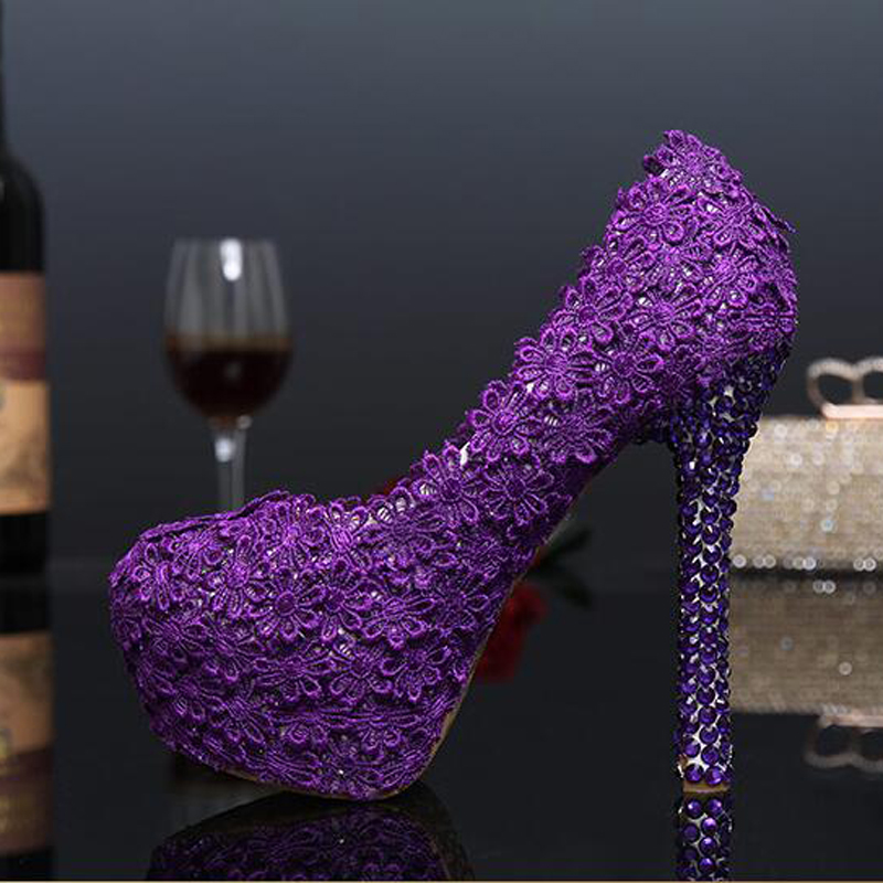 Fashion 2017 Purple Lace Flower Wedding Shoes Evening Party High Heels Women Genuine Leather Pumps Bridal Shoes Plus Size 43