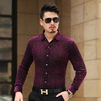 New Style 2016 Men S Fashion Floral Stitching Shirt High Quality Casual Long Sleeve Shirt Local