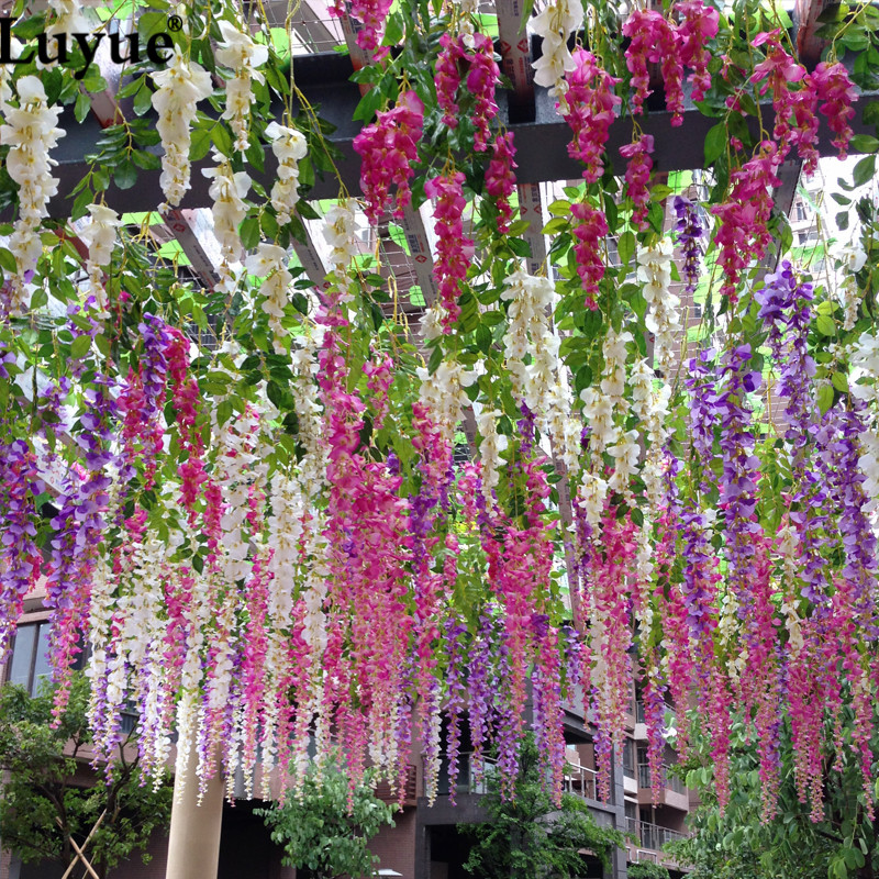 48piece 110cm Silk Wisteria Garland Kunstig Wisteria Flower Garlands perfekt til bryllup dekoration Home Decorations 48pc / lot