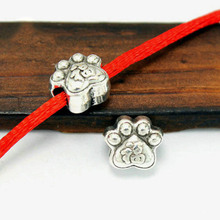 TJP 10pcs Tibetan Antique Silver Tone Animal Dog Feet Foot Paw Spacer Beads for Bracelets DIY Jewelry Making Findings 10x8.5mm