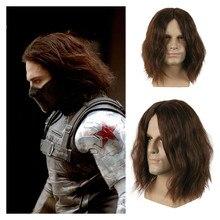 Bucky Peluca de Cosplay de Capitán América para hombre y mujer Peluca de pelo grueso y esponjoso de color marrón oscuro para Cosplay