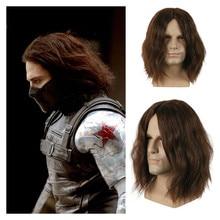 New Captain America Civil War Winter Soldier Bucky Barnes Cosplay Wig Women Men Dark Brown Thick Fluffy Hair Wigs Cosplay Props