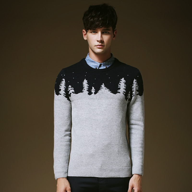 New Hot Men Christmas Pullover Sweaters Korean Style Young Man
