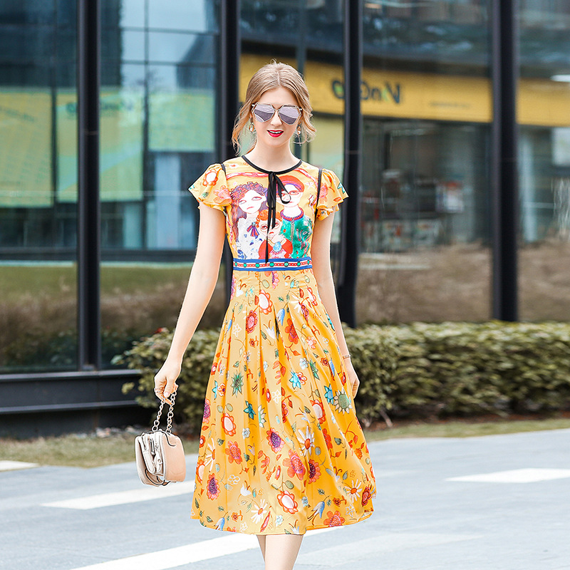 High Quality Runway Dress Spring Summer 2018 round neck bow tie defined waist cartoon print pleated New Fashion Woman Dresses