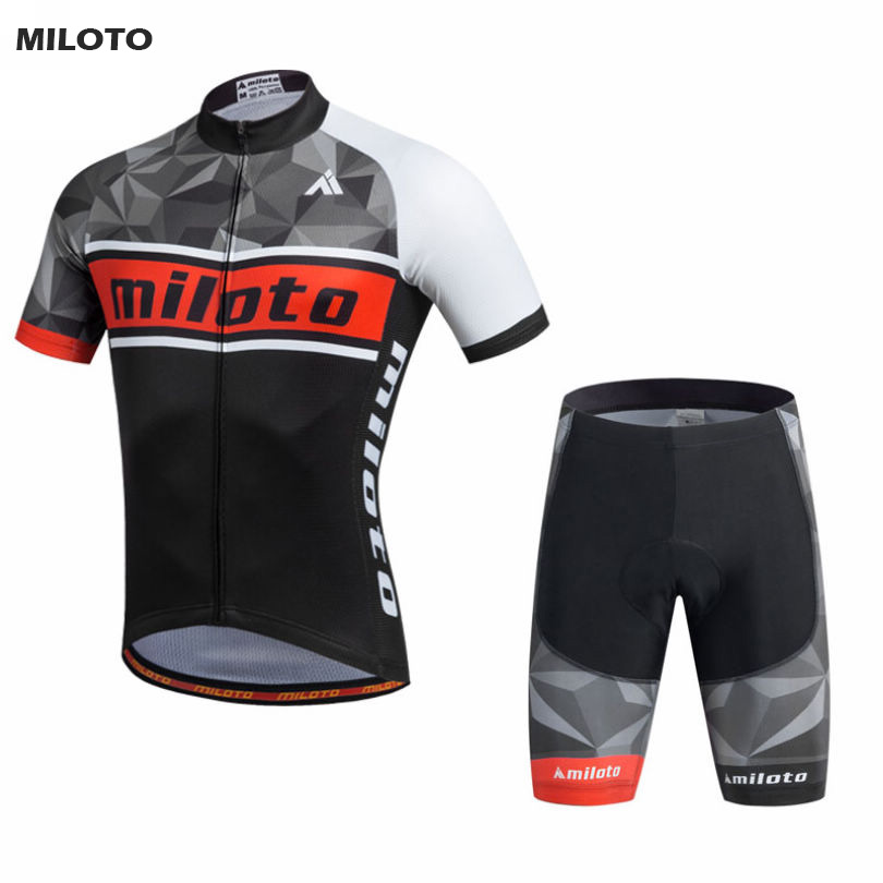 MILOTO Mens Sport Pro Team Cycling Jersey Sets Bike Bicycle Bib Shorts Ropa Ciclismo Short Sleeve Clothing