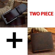 COWATHER Men Belt and wallet set pin buckle cow genuine leather belt for men fashion wallet suit top quality purse free shipping
