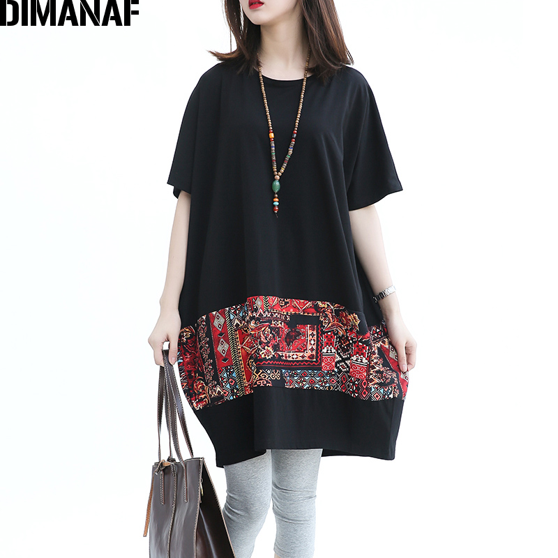 22206a514b7 DIMANAF Summer Women Plus Size T-Shirt Cotton Pattern Print Black Patchwork  Batwing Sleeve Female Casual Oversized Loose Tops