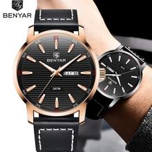 купить BENYAR Men's Watches Simple Luxury Brand Quartz Watch Pilot Military Sport Wristwatch Leather Strap Male Clock Relogio Masculino по цене 1236.84 рублей