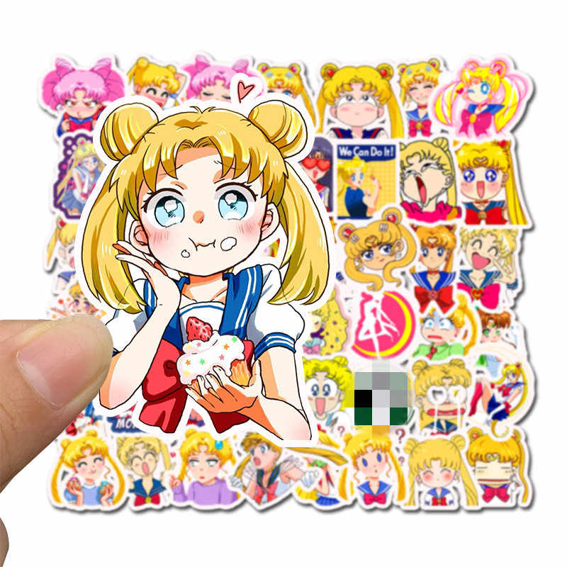 Sailor Moon Kid Sticker Girl Laptop Cartoon Luggage Skateboard Scrapbook Funny Anime Stickers Pack Toy For Children