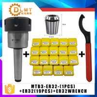 ER32 Spring Clamps 19PCS MT3 ER32 M14 1PCS ER32 Wrench 1PCS Collet Chuck Morse Holder Cone For CNC Milling Lathe tool