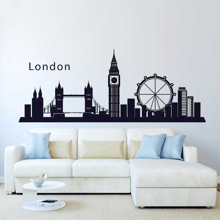 ASAPFOR London England Skyline City Wall Decal Sticker Vinyl