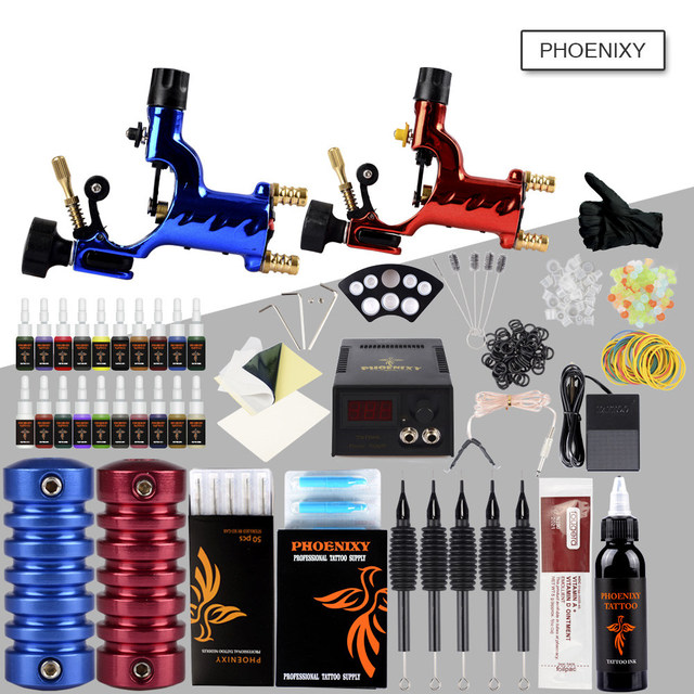 US $46.99 40% OFF|Complete Tattoo Machine Kit 2 Rotary Tattoo Machine Gun  Set 20 Color Ink Sets Power Supply Tattoo Body Art Set Pigment Make up-in  ...