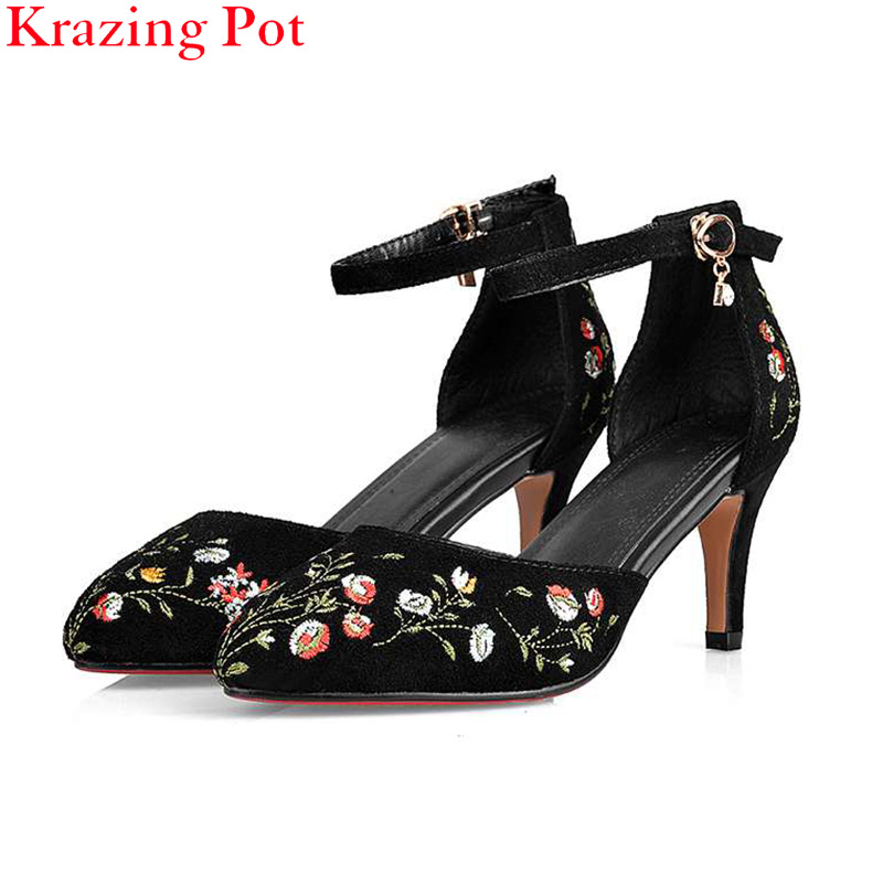 Fashion Large Size Women Pumps High Heels Ankle Strap Pointed Toe Wedding Sandals Flowers Embroidery Bowtie Brand  Shoes L99 цены онлайн