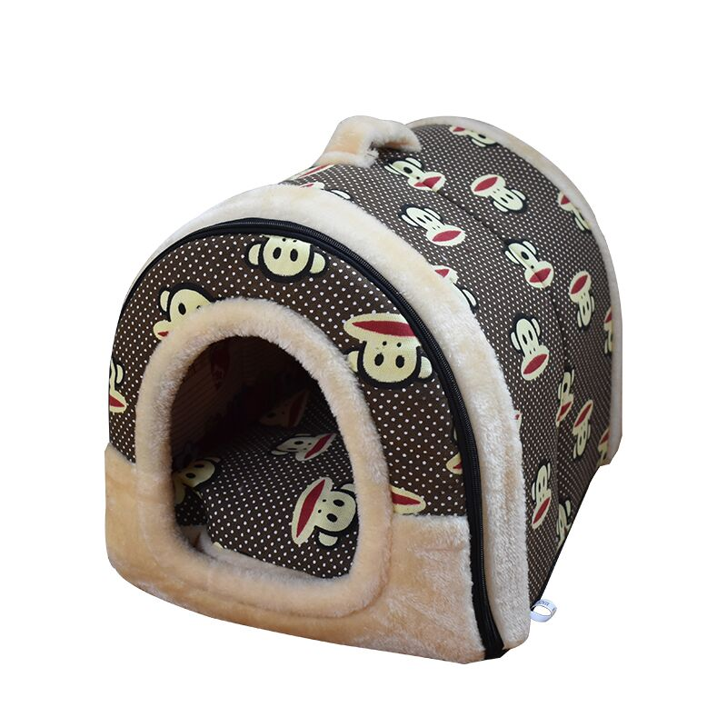 Portable Pet Dog Cat House Foldable Warm Cozy Pet  House Plush Cloth Cute Kennel For Universal Dog   Pet Bed Sofa 3 Size