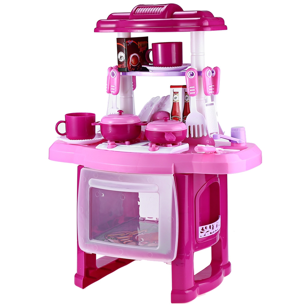 Pink kitchen set children kitchen toys large kitchen for Kitchen set pink