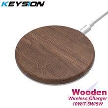 Chargeur rapide sans fil KEYSION 10W Qi pour iPhone 11 Pro XS Max XR 8 Plus chargeur sans fil en bois pour Samsung S20 S10 S9 S8