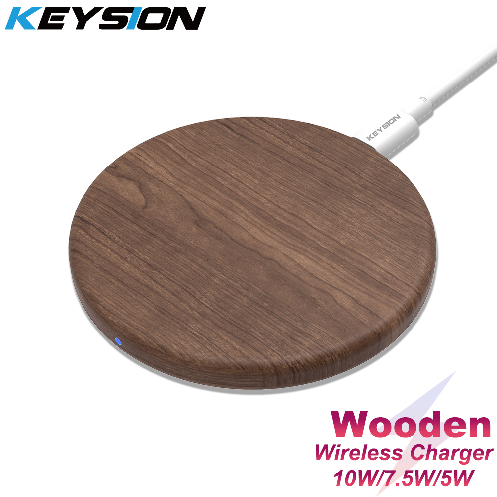 KEYSION 10W Qi Fast Wireless Charger For IPhone 11 Pro XS Max XR 8 Plus Wooden Wireless Charging Pad For Samsung S10 S9 S8 S7