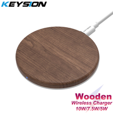 KEYSION 10W Qi Fast Wireless Charger for iPhone 11 Pro XS Max XR 8 Plus Wooden Wireless Charging Pad for Samsung S20 S10 S9 S8